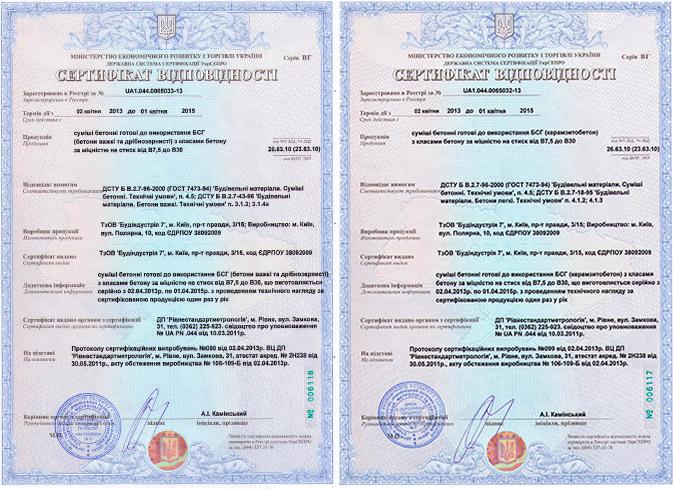 Сертификаты на бетон Киев будиндустрия